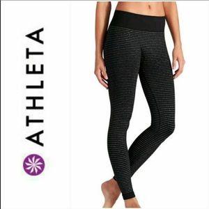 Athleta simmer stripe black tight leggings medium